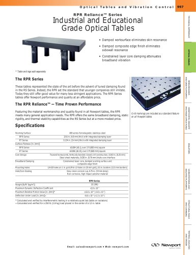 RPR Reliance™ Series Industrial and Educational  Grade Optical Tables, Modular Doubled Tables