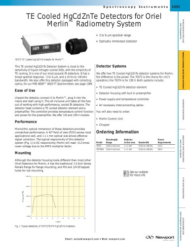 TE Cooled HgCdZnTe Detectors for Oriel Merlin™ Radiometry System
