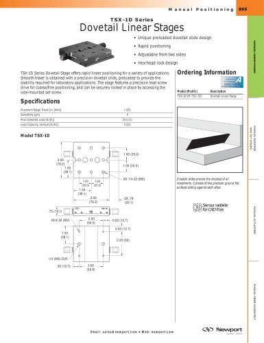 TSX-1D Series Dovetail Linear Stages