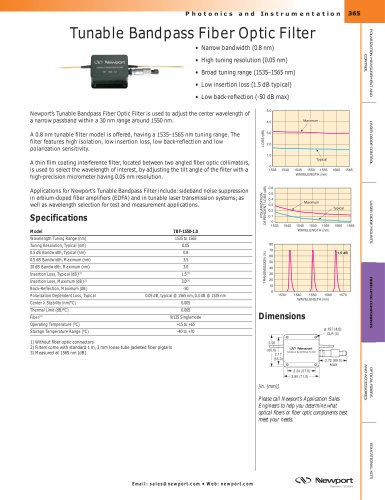 Tunable Bandpass Fiber Optic Filter