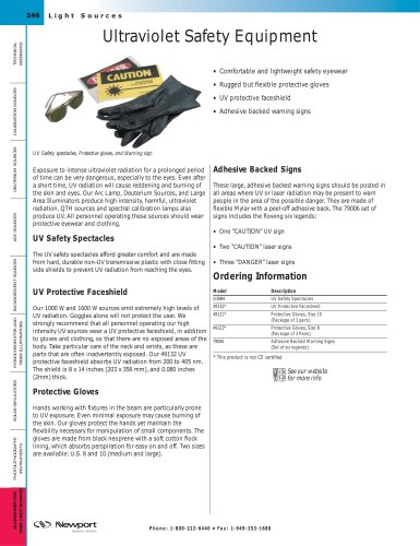 Ultraviolet Safety Equipment