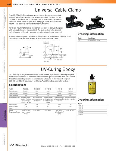 UV-Curing Epoxy Adhesives, Universal Cable Clamp