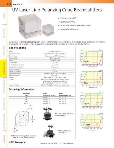 UV Laser Line Polarizing Cube Beamsplitters