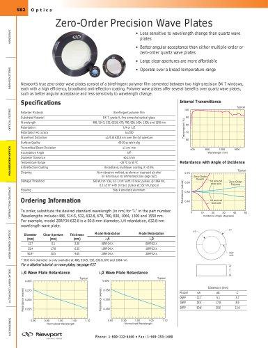 Zero-Order Precision Wave Plates