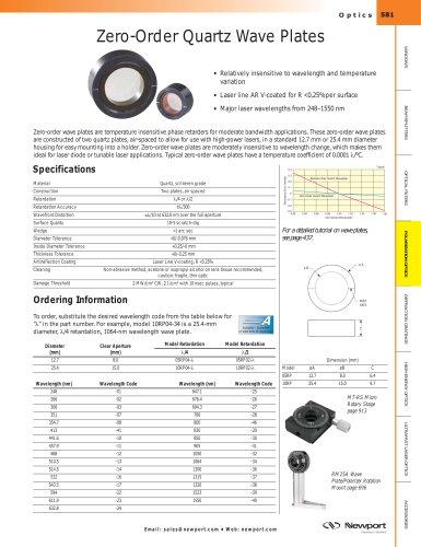 Zero-Order Quartz Wave Plates