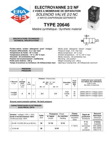 2-way diaphragm solenoid valve datasheet