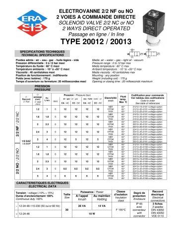 Direct acting 2/2 solenoid valve- plastic