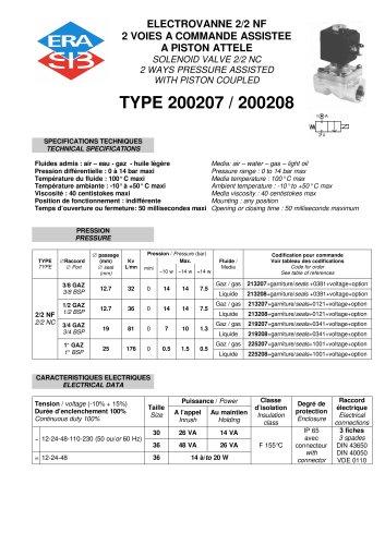 Piston coupled 2/2 NC solenoid valve-brass- SSteel