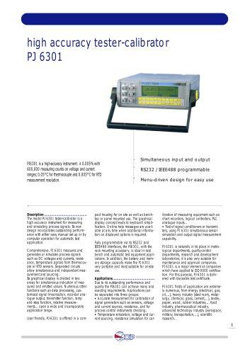 High Accuracy Tester - Calibrator  PJ 6301