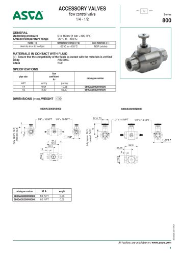 Catalogue-Accessories-Flow Controls and valves-800-Flow control valve