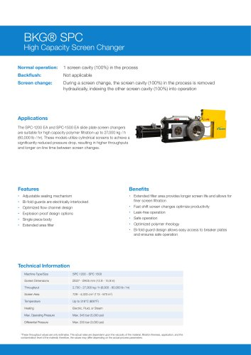 BKG® High Capacity Slide Plate Screen Changer SPC