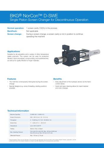 BKG® NorCon™ D-SWE Discontinuous Single Piston Screen Changer