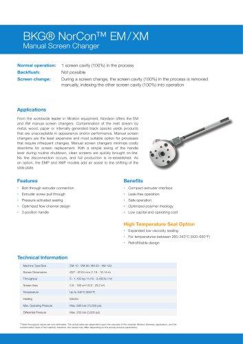 BKG® NorCon™ Manual Screen Changer EM