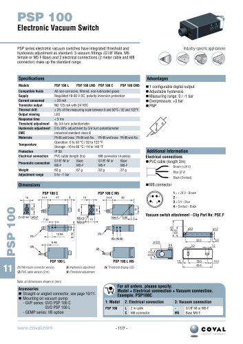 Electronic Vacuum Switch, PSP100 Series