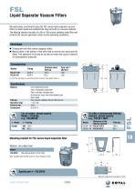 Liquid Separator Vacuum Filters, FSL Series