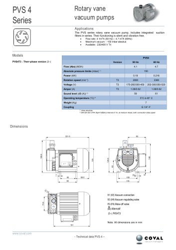 PVS Series, Rotary Vane Vacuum Pumps