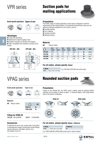 Suction cups for mailing applications, VPR series