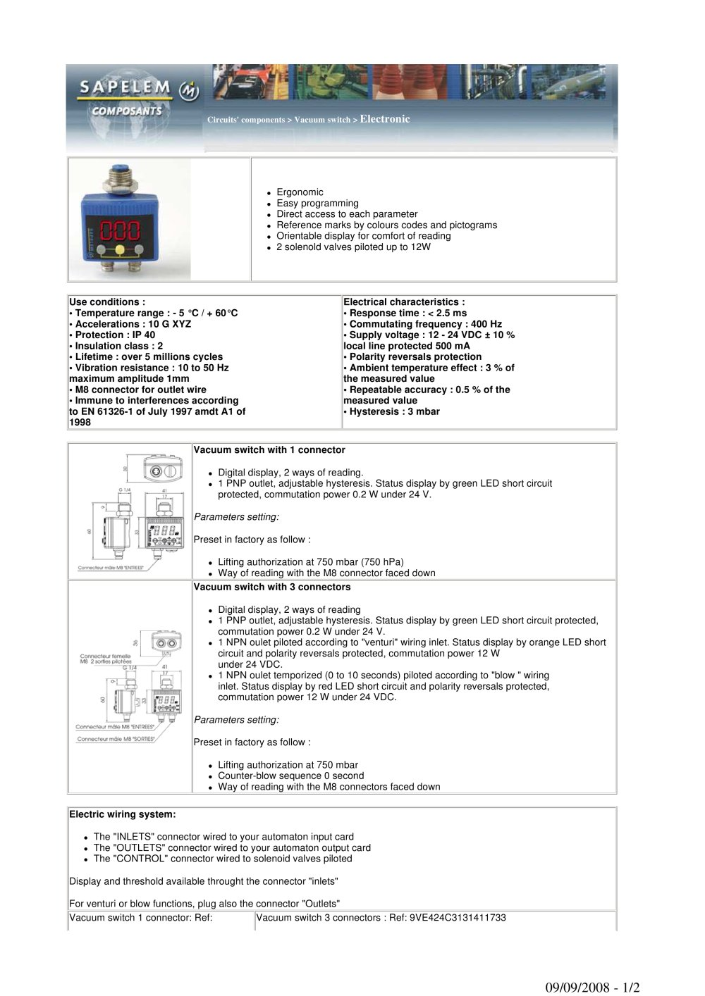 Vacuum Switch Sapelem Pdf Catalogue Technical Documentation 24 Volt Wiring Plug And Receptacle 1 2 Pages