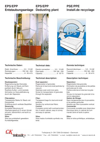 EPS/EPP Dedusting plant