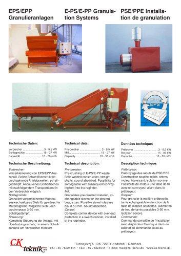 EPS / EPP Granulation system