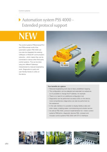 Automation system PSS 4000 - Extended protocol support