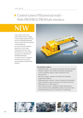 Control system PSSuniversal multi - With PROFIBUS/PROFIsafe interface