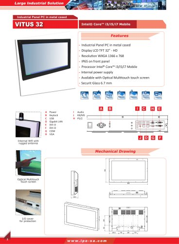 large and bartype solution - panel PC and monitor