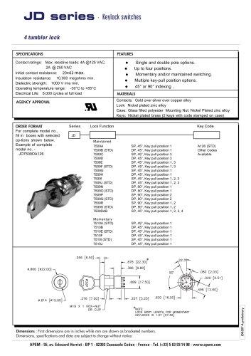 APEM JD series - keylock switches