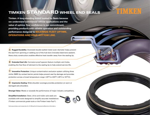 TIMKEN STANDARD WHEEL END SEALS AND INTERCHANGE