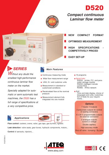 D520 Compact continuous laminar flow tester