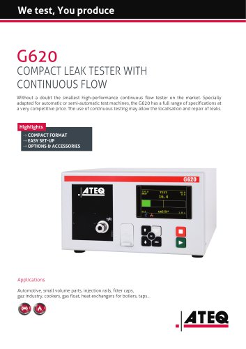 Leak tester with continuous flow | G620