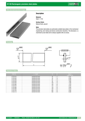 01130 Rectangular precision steel plates