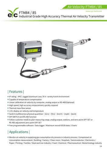 eYc FTM84/85 Industrial grade high accuracy thermo air velocity transmitter