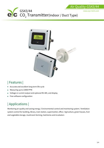 GS43/44 CO2 Transmitter Indoor / Duct Type