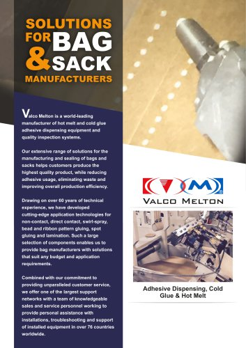 Gluing systems for bag & sack manufacturing