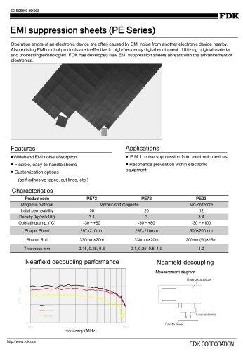 Ferrites sheets for EMI suppression (PEseries)