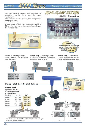 Mini clamping system 4000 N ? for T-slot table and specific assembly