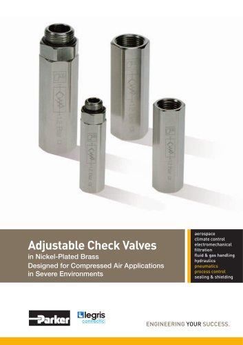 Parker Legris - Adjustable Check Valves in Nickel-Plated Brass