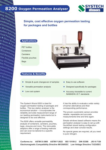 8200 Oxygen permeation analyser