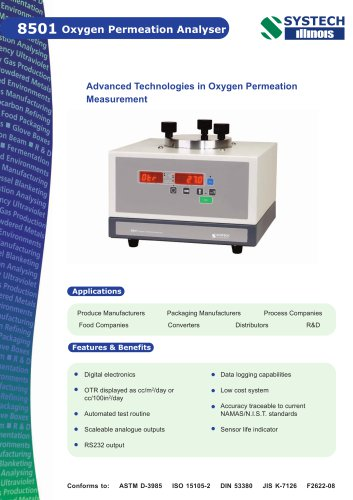 8501 oxygen permeation analyser