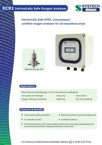 EC91 Intrinsically safe oxygen analyser