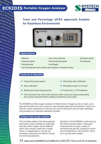 EC92DIS Portable Oxygen Analyser