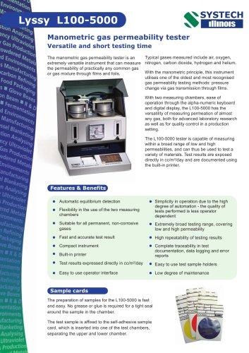 Lyssy L100-5000 gas permeability tester