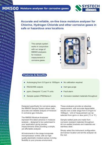 MM500 Moisture analyser for corrosive gases