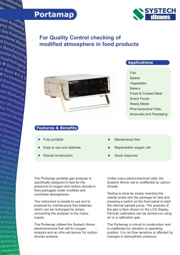 Portamap portable gas analyser