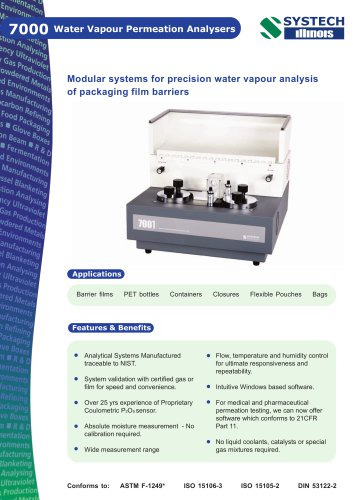 Water Vapour Permeation Analysers