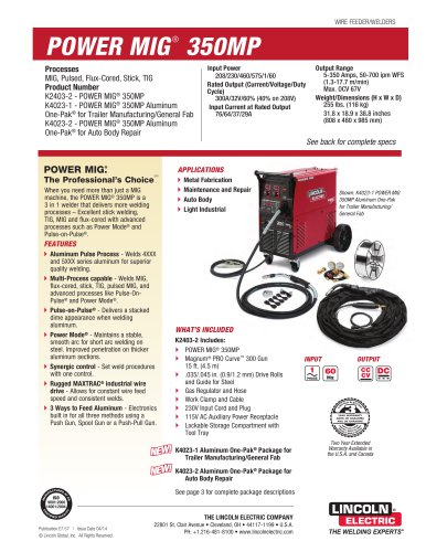 Power Mig 350mp Lincoln Electric Pdf Catalogs Technical Documentation Brochure
