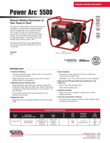 Powered by Gasoline Engines Power Arc® 5500