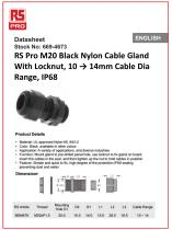 RS Pro M20 Black Nylon Cable Gland With Locknut - 1