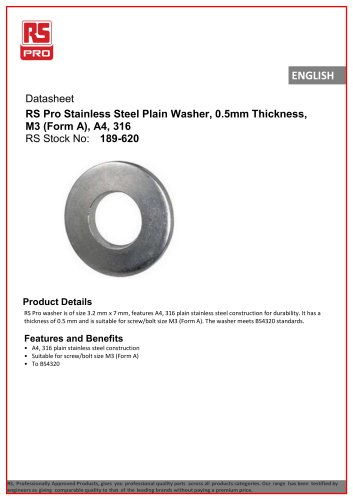 RS Pro Stainless Steel Plain Washer